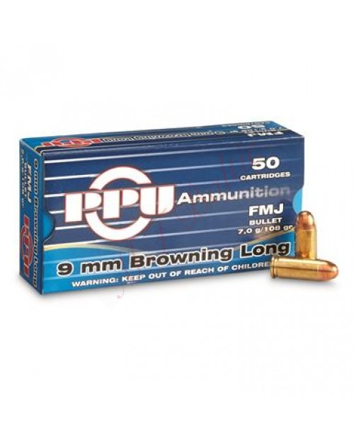 PPU 9mm Browning long / 7,0g / VM 108grs / FMJ 1000 pcs.